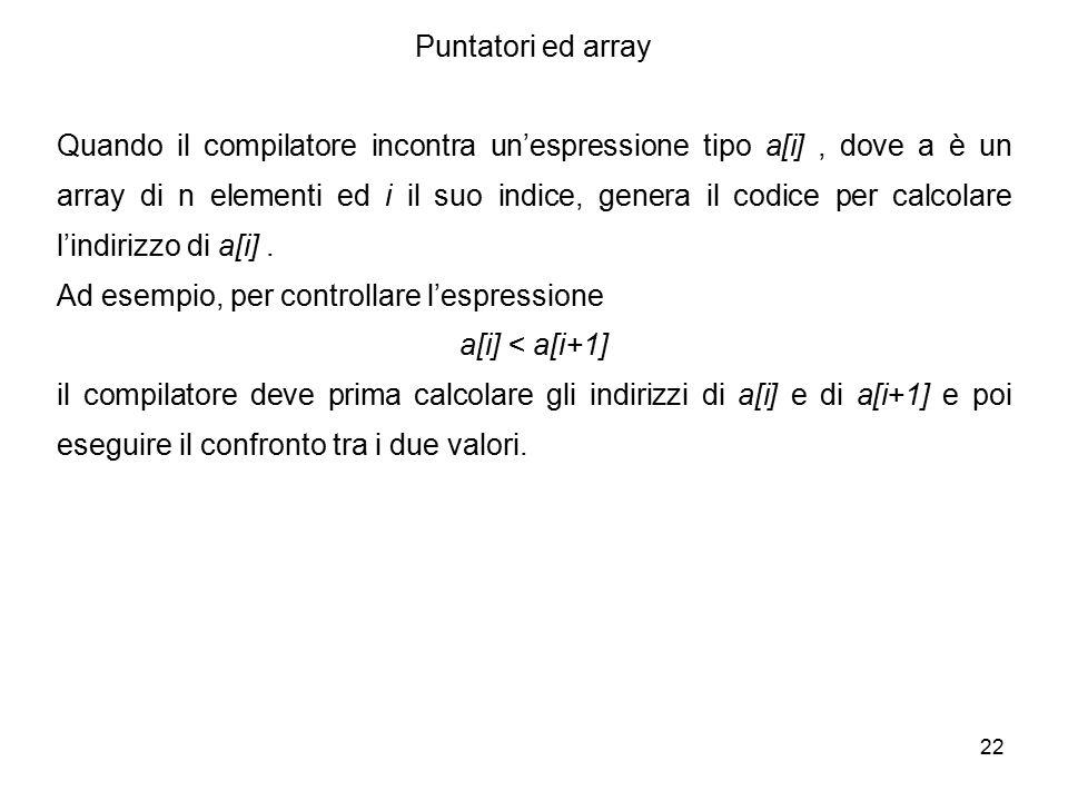 22 Puntatori ed array Quando il compilatore incontra un'espressione tipo a[i], dove a è un array di n elementi ed i il suo indice, genera il codice per calcolare l'indirizzo di a[i].