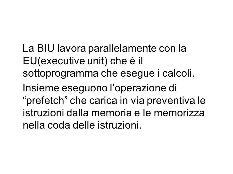 La BIU lavora parallelamente con la EU(executive unit) che è il sottoprogramma che esegue i calcoli.