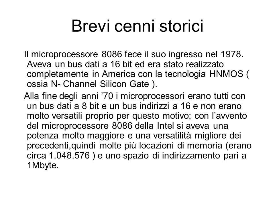 Brevi cenni storici Il microprocessore 8086 fece il suo ingresso nel 1978.