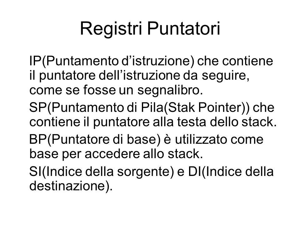 Registri Puntatori IP(Puntamento d'istruzione) che contiene il puntatore dell'istruzione da seguire, come se fosse un segnalibro.