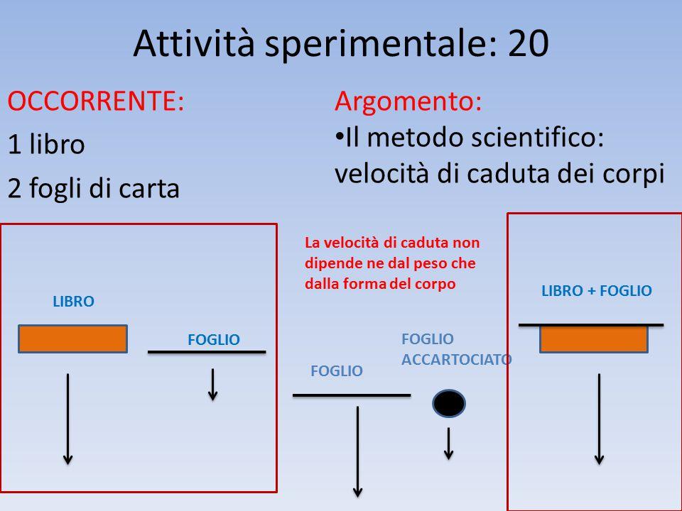 Attività sperimentale: 20 OCCORRENTE: 1 libro 2 fogli di carta Argomento: Il metodo scientifico: velocità di caduta dei corpi LIBRO LIBRO + FOGLIO FOG