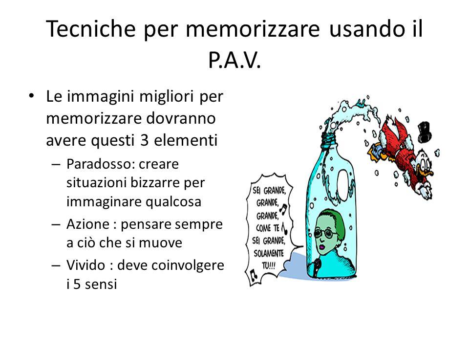 Tecniche per memorizzare usando il P.A.V. Le immagini migliori per memorizzare dovranno avere questi 3 elementi – Paradosso: creare situazioni bizzarr