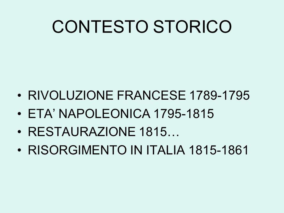 CONTESTO STORICO RIVOLUZIONE FRANCESE 1789-1795 ETA' NAPOLEONICA 1795-1815 RESTAURAZIONE 1815… RISORGIMENTO IN ITALIA 1815-1861