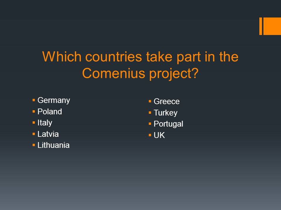 Which countries take part in the Comenius project?  Germany  Poland  Italy  Latvia  Lithuania  Greece  Turkey  Portugal  UK