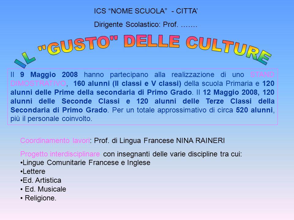 """ICS """"NOME SCUOLA"""" - CITTA' Dirigente Scolastico: Prof. ……. Il 9 Maggio 2008 hanno partecipano alla realizzazione di uno STAND DIMOSTRATIVO, 160 alunni"""