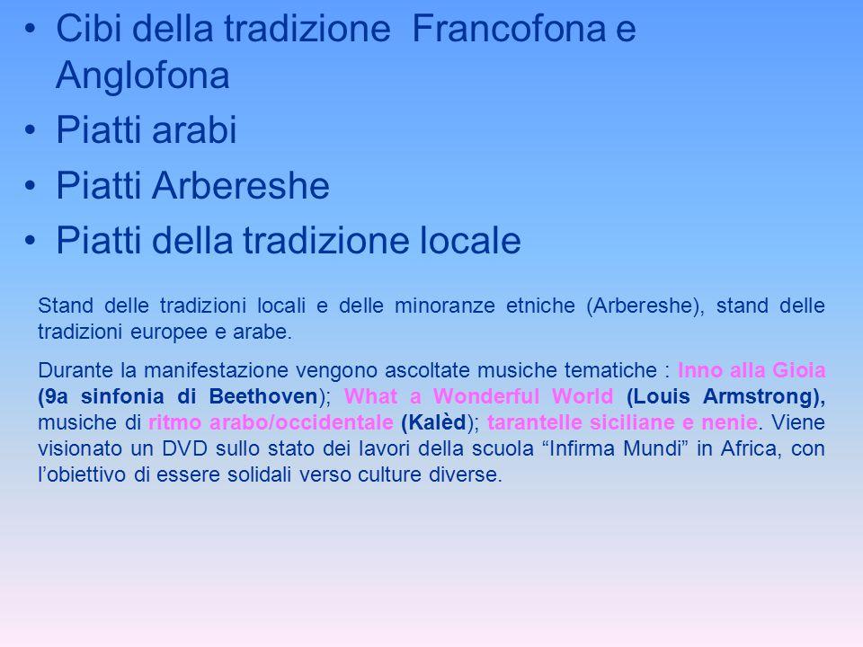 Cibi della tradizione Francofona e Anglofona Piatti arabi Piatti Arbereshe Piatti della tradizione locale Stand delle tradizioni locali e delle minora