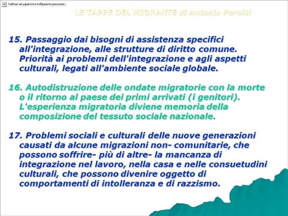 15. Passaggio dai bisogni di assistenza specifici all'integrazione, alle strutture di diritto comune. Priorità ai problemi dell'integrazione e agli as