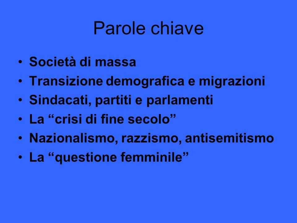 Parole chiave Società di massa Transizione demografica e migrazioni Sindacati, partiti e parlamenti La crisi di fine secolo Nazionalismo, razzismo, antisemitismo La questione femminile