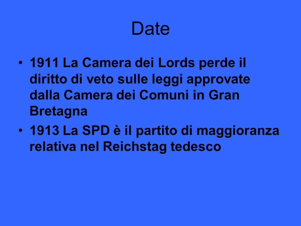 Date 1911 La Camera dei Lords perde il diritto di veto sulle leggi approvate dalla Camera dei Comuni in Gran Bretagna 1913 La SPD è il partito di magg