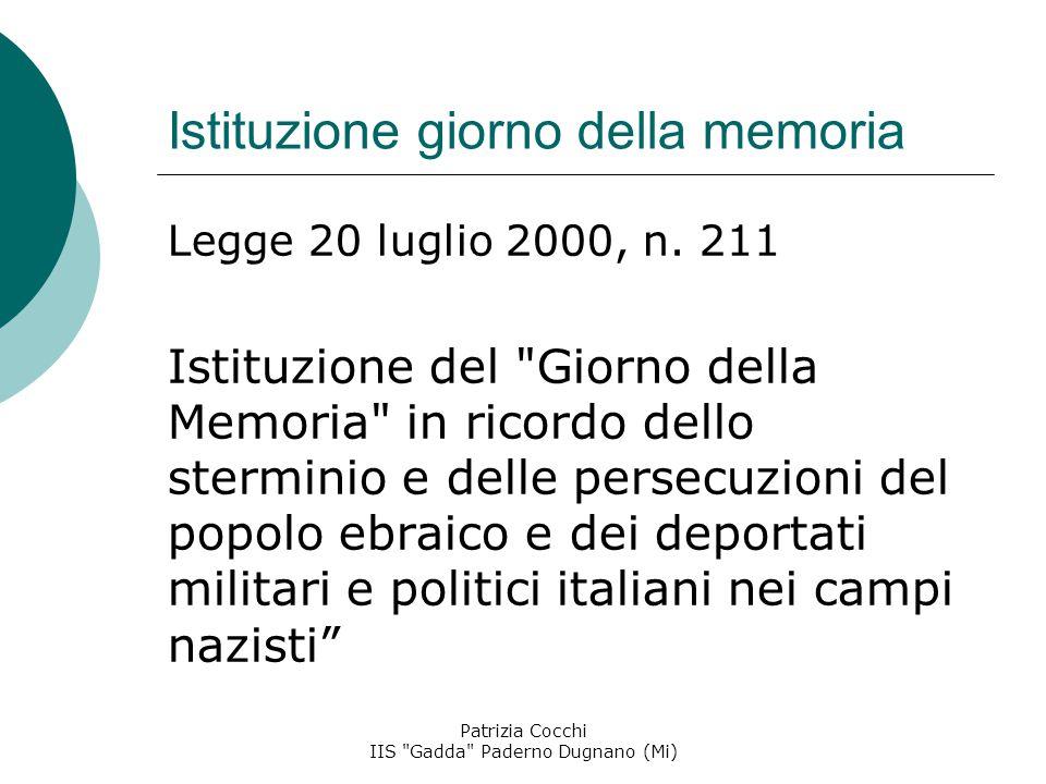 Istituzione giorno della memoria Legge 20 luglio 2000, n.