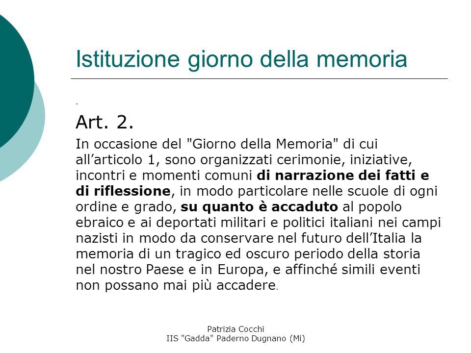 Istituzione giorno della memoria.Art. 2.