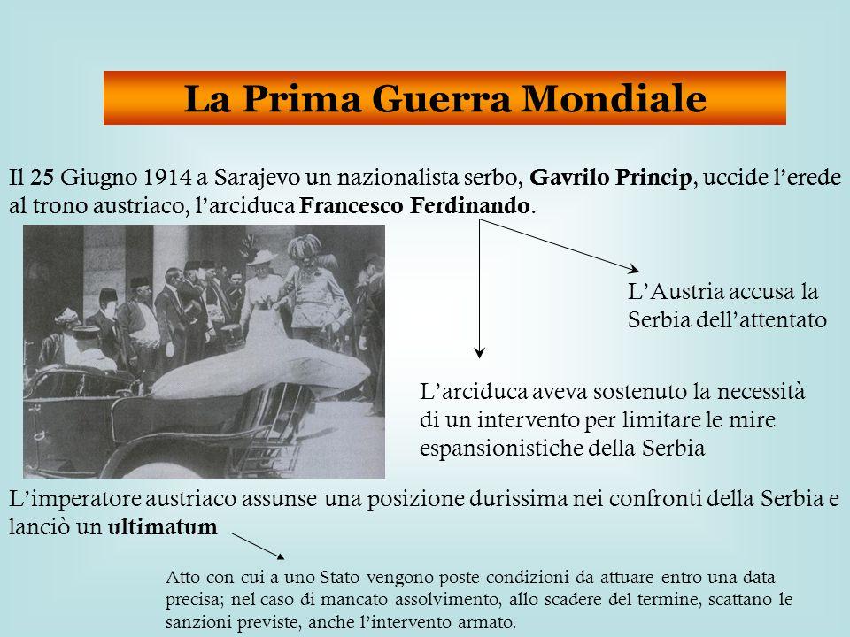 La Prima Guerra Mondiale Il 25 Giugno 1914 a Sarajevo un nazionalista serbo, Gavrilo Princip, uccide l'erede al trono austriaco, l'arciduca Francesco Ferdinando.