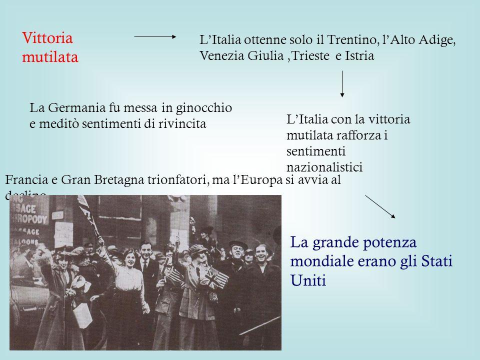 Trattati di Pace Il 18 gennaio 1919 a Versailles si apre la Conferenza della Pace, alla Germania furono stabilite sanzioni durissime, responsabile del