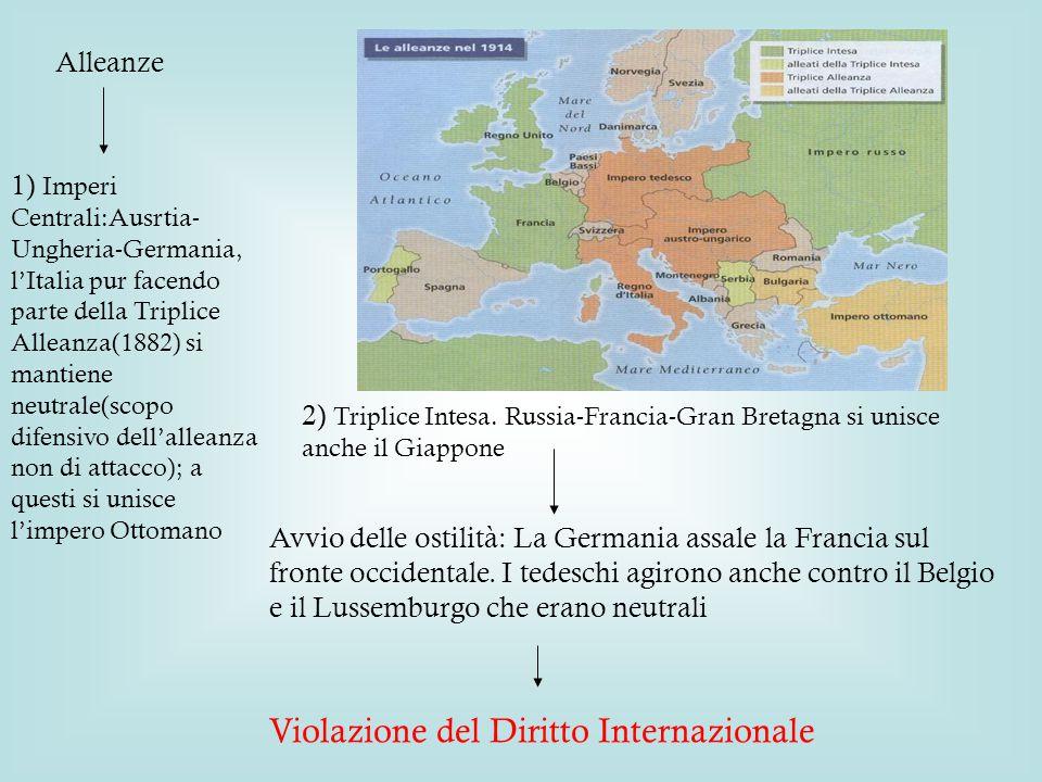 Alleanze 1) Imperi Centrali:Ausrtia- Ungheria-Germania, l'Italia pur facendo parte della Triplice Alleanza(1882) si mantiene neutrale(scopo difensivo dell'alleanza non di attacco); a questi si unisce l'impero Ottomano 2) Triplice Intesa.