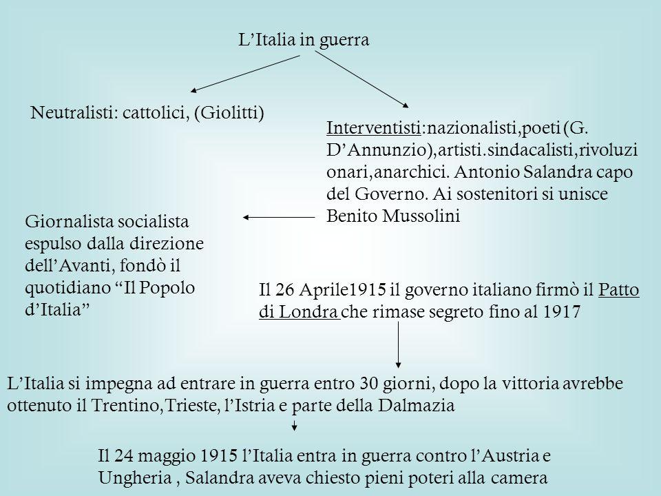 L'Italia in guerra Neutralisti: cattolici, (Giolitti) Interventisti:nazionalisti,poeti (G.