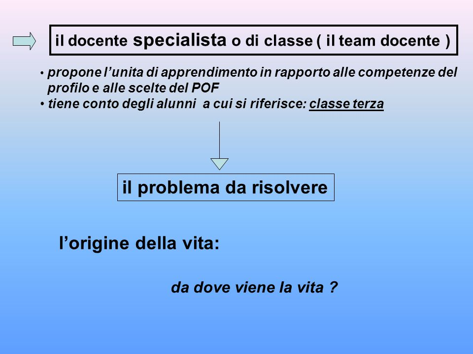 il docente specialista o di classe ( il team docente ) propone l'unita di apprendimento in rapporto alle competenze del profilo e alle scelte del POF
