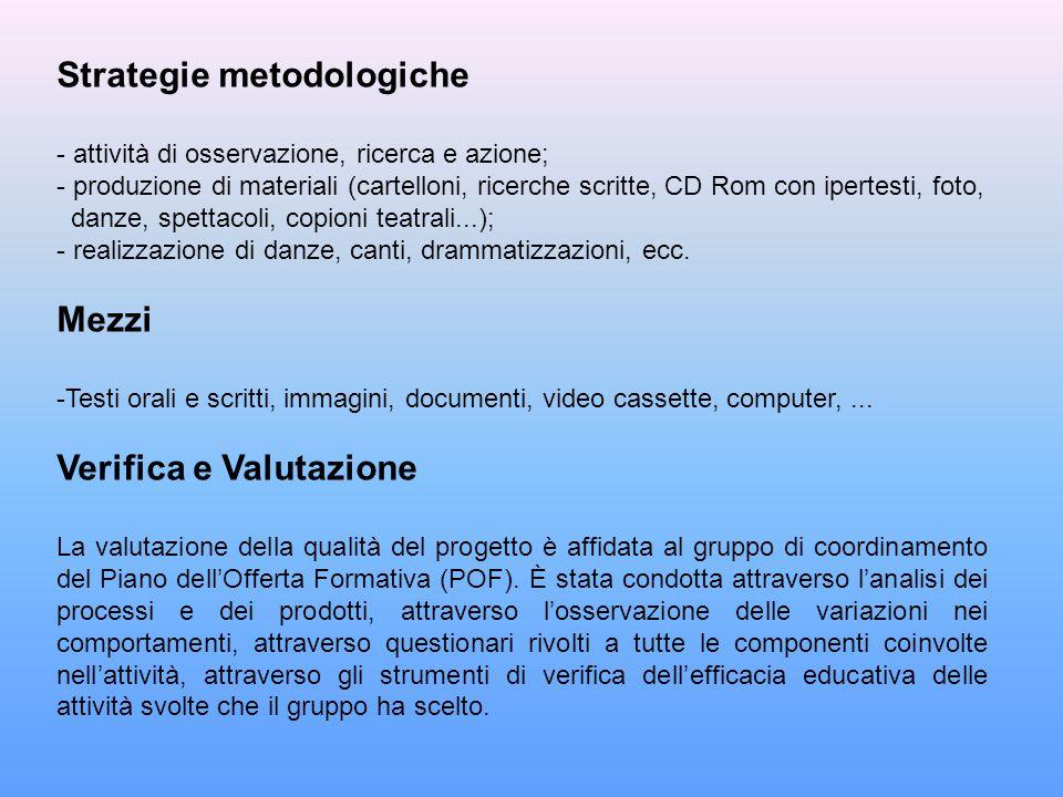 Strategie metodologiche - attività di osservazione, ricerca e azione; - produzione di materiali (cartelloni, ricerche scritte, CD Rom con ipertesti, f