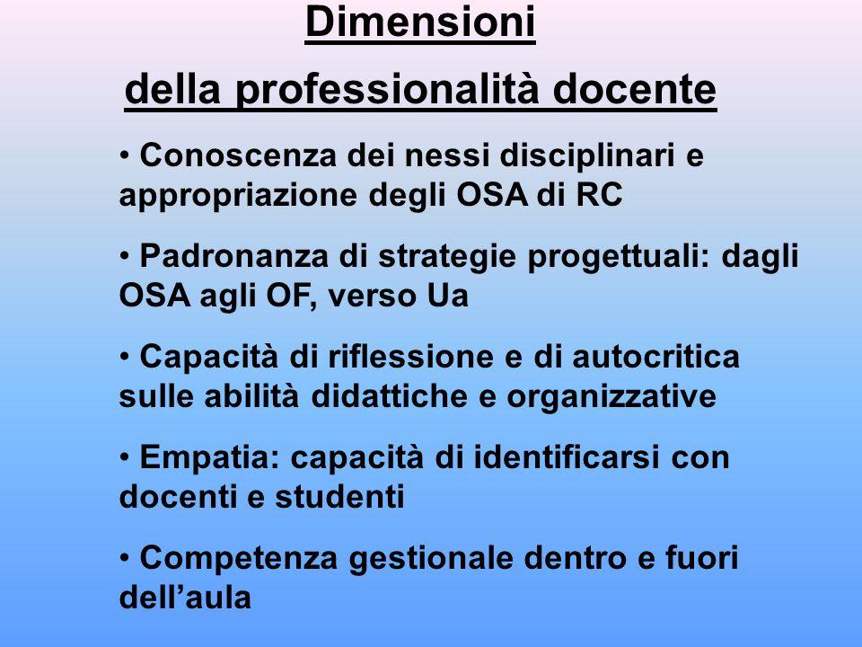 Dimensioni della professionalità docente Conoscenza dei nessi disciplinari e appropriazione degli OSA di RC Padronanza di strategie progettuali: dagli