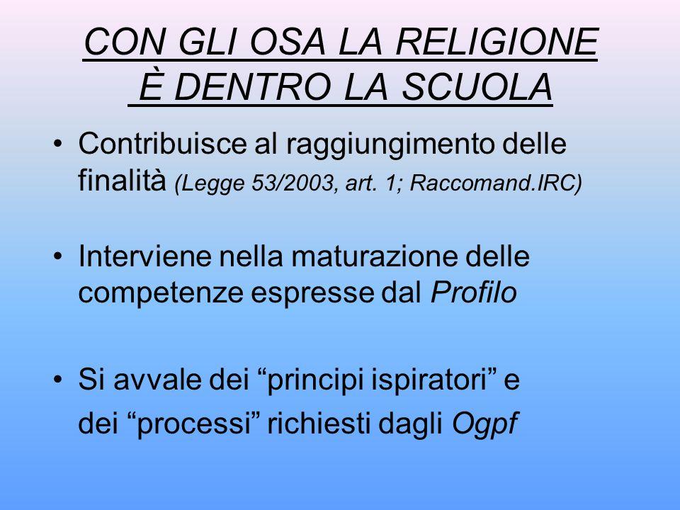 CON GLI OSA LA RELIGIONE È DENTRO LA SCUOLA Contribuisce al raggiungimento delle finalità (Legge 53/2003, art. 1; Raccomand.IRC) Interviene nella matu