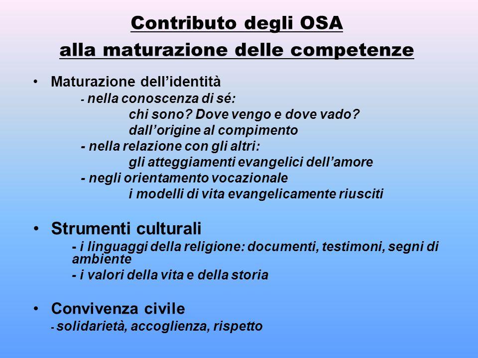 Contributo degli OSA alla maturazione delle competenze Maturazione dell'identità - nella conoscenza di sé: chi sono? Dove vengo e dove vado? dall'orig