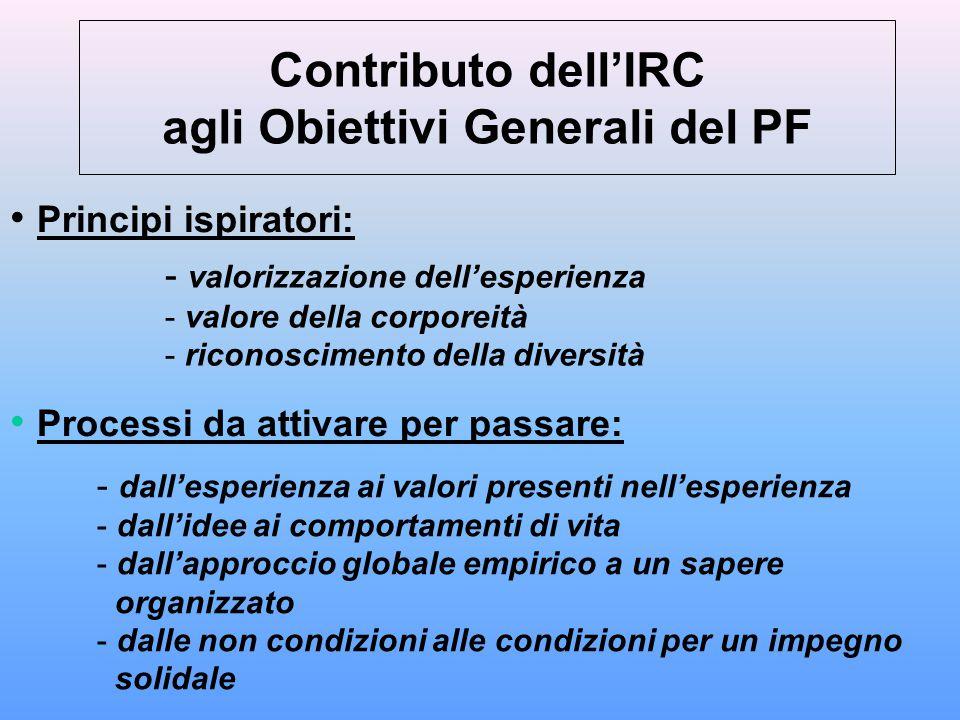 Contributo dell'IRC agli Obiettivi Generali del PF Principi ispiratori: - valorizzazione dell'esperienza - valore della corporeità - riconoscimento de