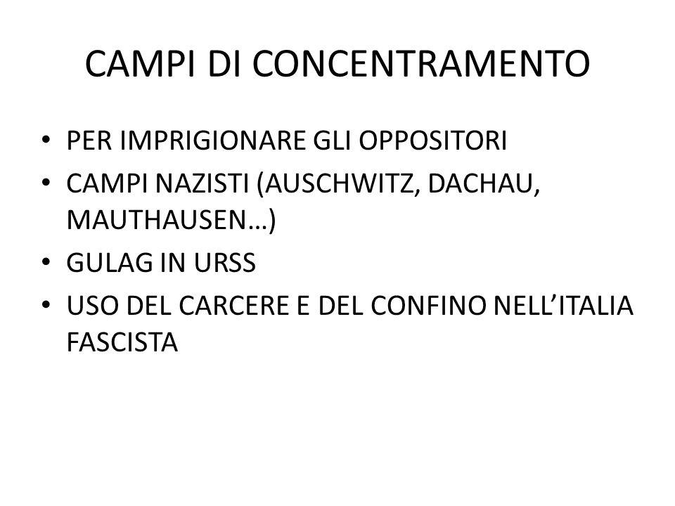 CAMPI DI CONCENTRAMENTO PER IMPRIGIONARE GLI OPPOSITORI CAMPI NAZISTI (AUSCHWITZ, DACHAU, MAUTHAUSEN…) GULAG IN URSS USO DEL CARCERE E DEL CONFINO NELL'ITALIA FASCISTA