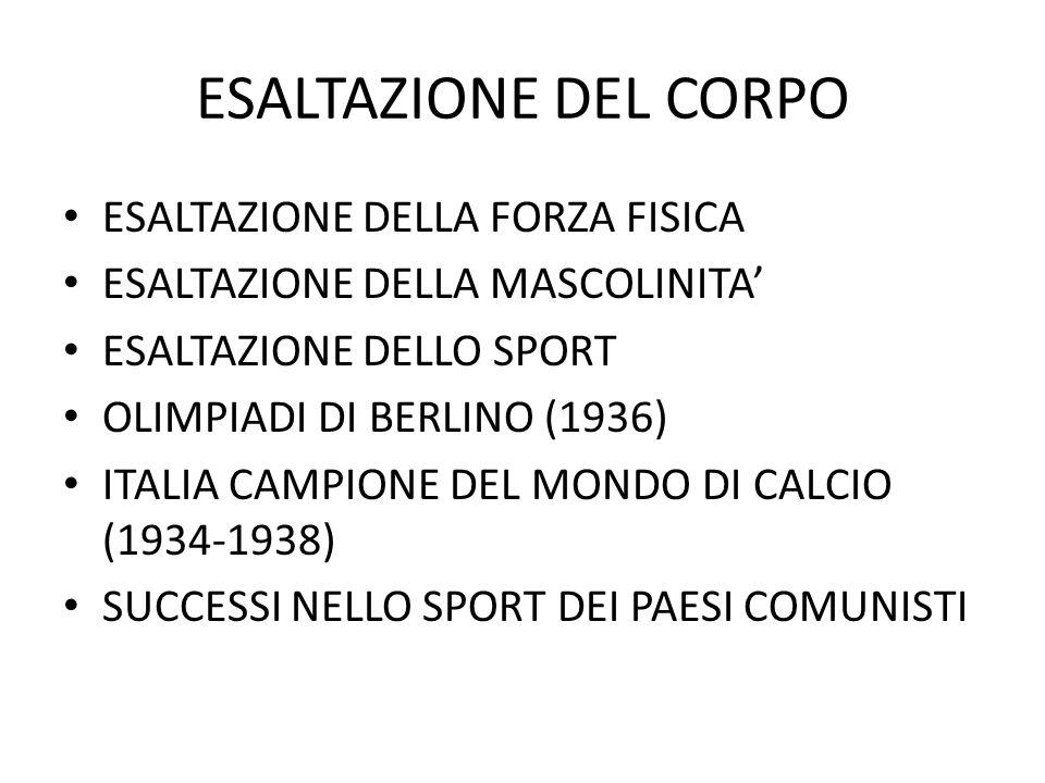ESALTAZIONE DEL CORPO ESALTAZIONE DELLA FORZA FISICA ESALTAZIONE DELLA MASCOLINITA' ESALTAZIONE DELLO SPORT OLIMPIADI DI BERLINO (1936) ITALIA CAMPIONE DEL MONDO DI CALCIO (1934-1938) SUCCESSI NELLO SPORT DEI PAESI COMUNISTI
