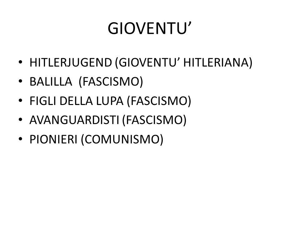 GIOVENTU' HITLERJUGEND (GIOVENTU' HITLERIANA) BALILLA (FASCISMO) FIGLI DELLA LUPA (FASCISMO) AVANGUARDISTI (FASCISMO) PIONIERI (COMUNISMO)