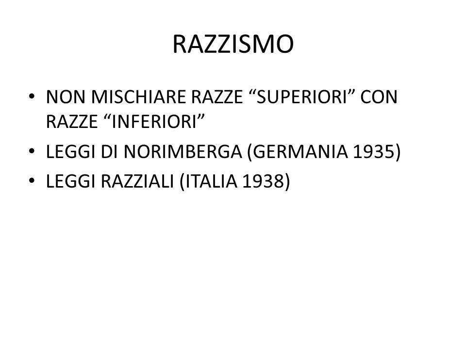 RAZZISMO NON MISCHIARE RAZZE SUPERIORI CON RAZZE INFERIORI LEGGI DI NORIMBERGA (GERMANIA 1935) LEGGI RAZZIALI (ITALIA 1938)