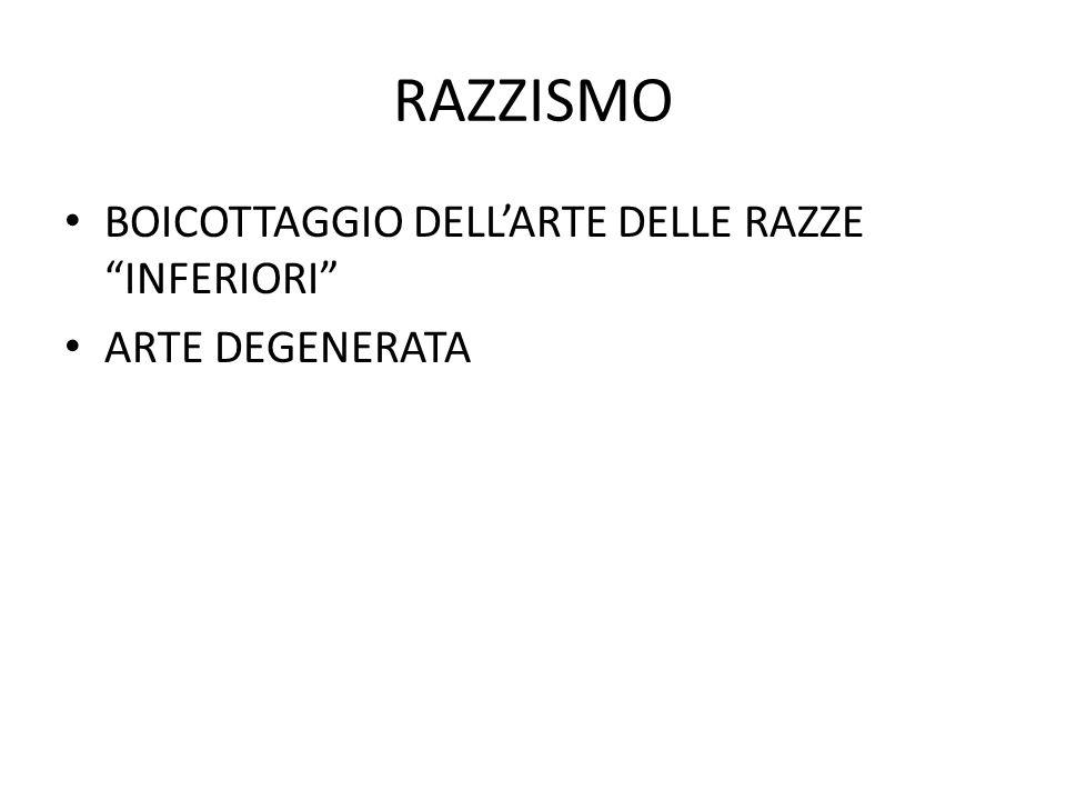 RAZZISMO BOICOTTAGGIO DELL'ARTE DELLE RAZZE INFERIORI ARTE DEGENERATA
