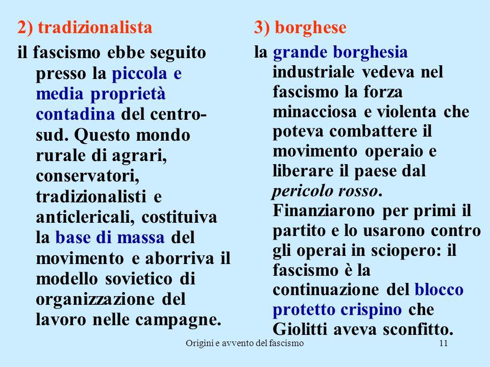 Origini e avvento del fascismo11 2) tradizionalista il fascismo ebbe seguito presso la piccola e media proprietà contadina del centro- sud. Questo mon