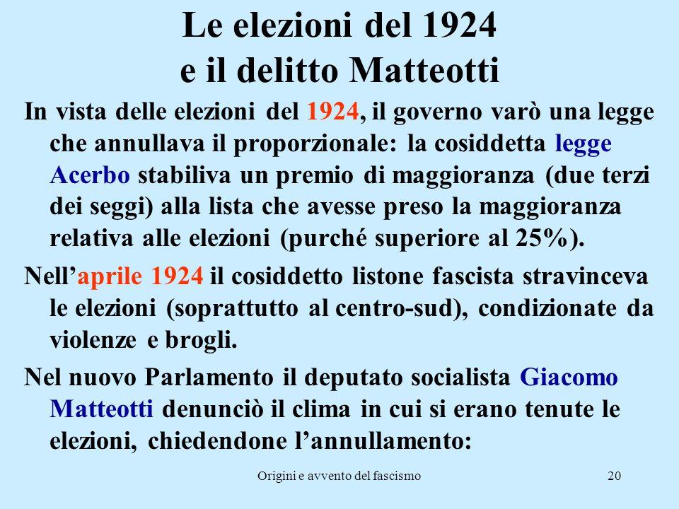 Origini e avvento del fascismo20 Le elezioni del 1924 e il delitto Matteotti In vista delle elezioni del 1924, il governo varò una legge che annullava
