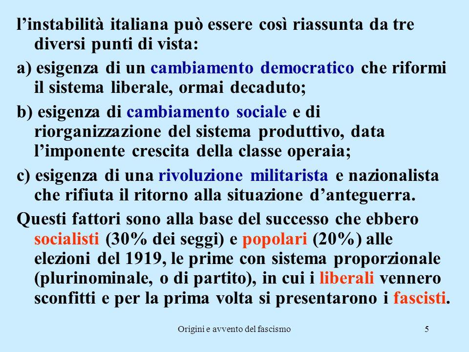 Origini e avvento del fascismo5 l'instabilità italiana può essere così riassunta da tre diversi punti di vista: a) esigenza di un cambiamento democrat