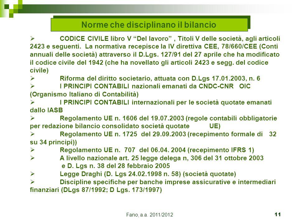 """Fano, a.a. 2011/201211 Norme che disciplinano il bilancio  CODICE CIVILE libro V """"Del lavoro"""", Titoli V delle società, agli articoli 2423 e seguenti."""