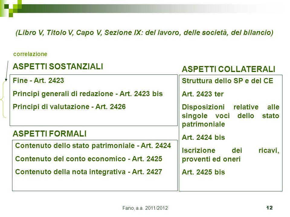 Fano, a.a. 2011/201212 Fine - Art. 2423 Principi generali di redazione - Art. 2423 bis Principi di valutazione - Art. 2426 ASPETTI SOSTANZIALI Contenu