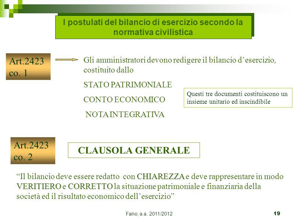 Fano, a.a. 2011/201219 Art.2423 co. 1 Gli amministratori devono redigere il bilancio d'esercizio, costituito dallo STATO PATRIMONIALE CONTO ECONOMICO