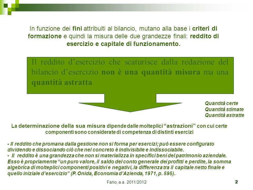 Fano, a.a. 2011/20122 Il reddito d'esercizio che scaturisce dalla redazione del bilancio d'esercizio non è una quantità misura ma una quantità astratt