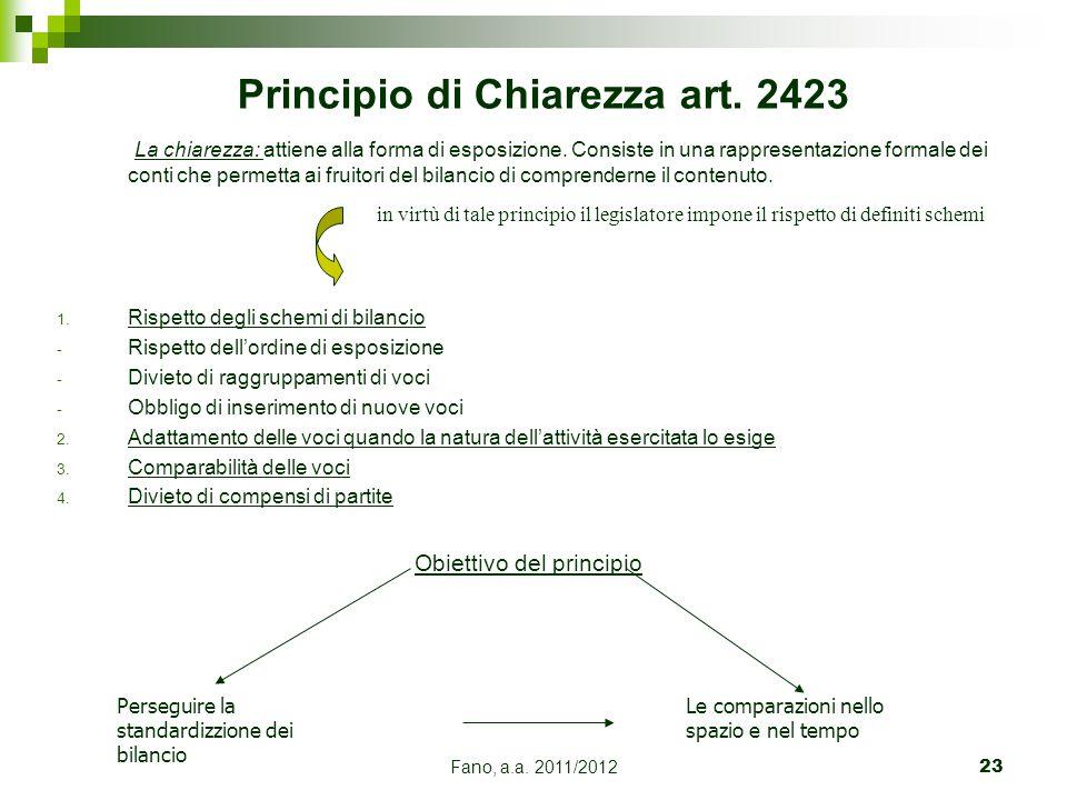 Fano, a.a. 2011/201223 Principio di Chiarezza art. 2423 La chiarezza: attiene alla forma di esposizione. Consiste in una rappresentazione formale dei