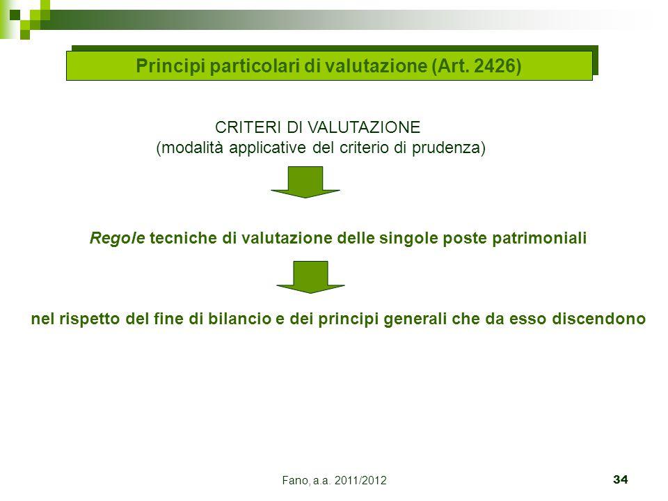 Fano, a.a. 2011/201234 CRITERI DI VALUTAZIONE (modalità applicative del criterio di prudenza) Regole tecniche di valutazione delle singole poste patri