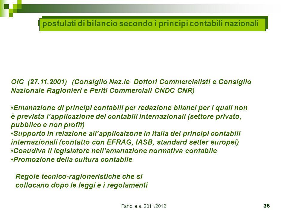 Fano, a.a. 2011/201235 OIC (27.11.2001) (Consiglio Naz.le Dottori Commercialisti e Consiglio Nazionale Ragionieri e Periti Commerciali CNDC CNR) Emana
