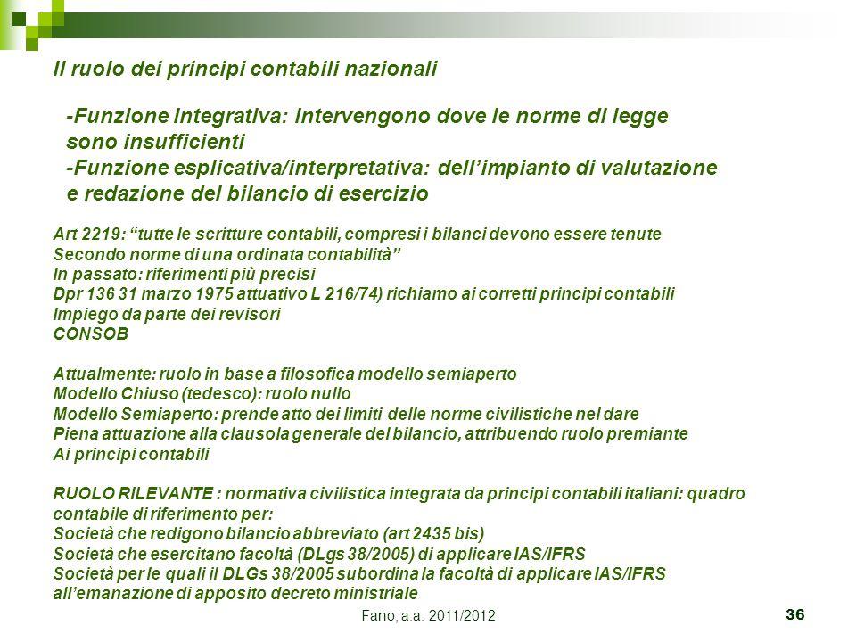 Fano, a.a. 2011/201236 -Funzione integrativa: intervengono dove le norme di legge sono insufficienti -Funzione esplicativa/interpretativa: dell'impian