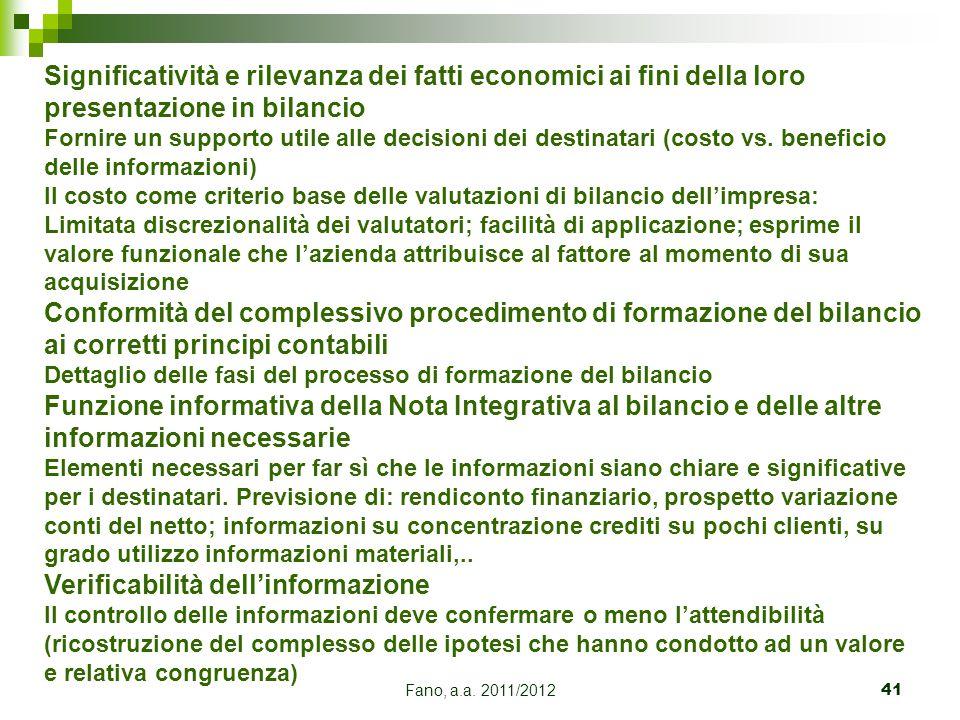 Fano, a.a. 2011/201241 Significatività e rilevanza dei fatti economici ai fini della loro presentazione in bilancio Fornire un supporto utile alle dec