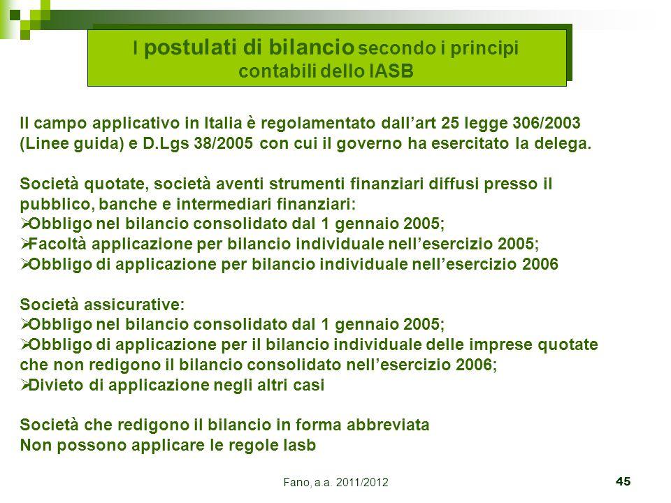 Fano, a.a. 2011/201245 I postulati di bilancio secondo i principi contabili dello IASB Il campo applicativo in Italia è regolamentato dall'art 25 legg