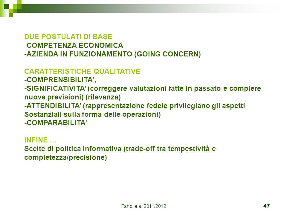 Fano, a.a. 2011/201247 DUE POSTULATI DI BASE -COMPETENZA ECONOMICA -AZIENDA IN FUNZIONAMENTO (GOING CONCERN) CARATTERISTICHE QUALITATIVE -COMPRENSIBIL