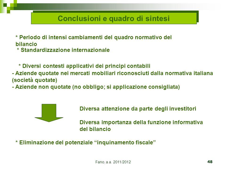 Fano, a.a. 2011/201248 * Diversi contesti applicativi dei principi contabili - Aziende quotate nei mercati mobiliari riconosciuti dalla normativa ital