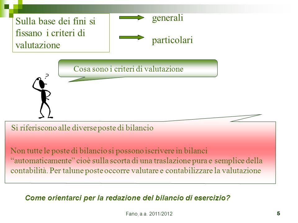 Fano, a.a. 2011/20125 Sulla base dei fini si fissano i criteri di valutazione generali particolari Cosa sono i criteri di valutazione Si riferiscono a