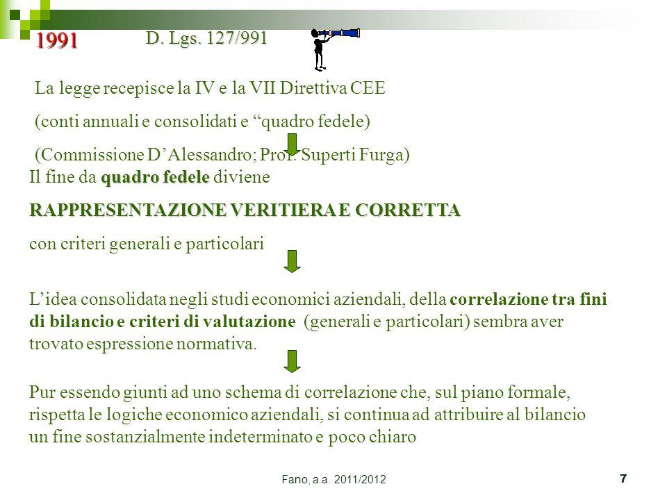 """Fano, a.a. 2011/20127 1991 D. Lgs. 127/991 La legge recepisce la IV e la VII Direttiva CEE (conti annuali e consolidati e """"quadro fedele) (Commissione"""