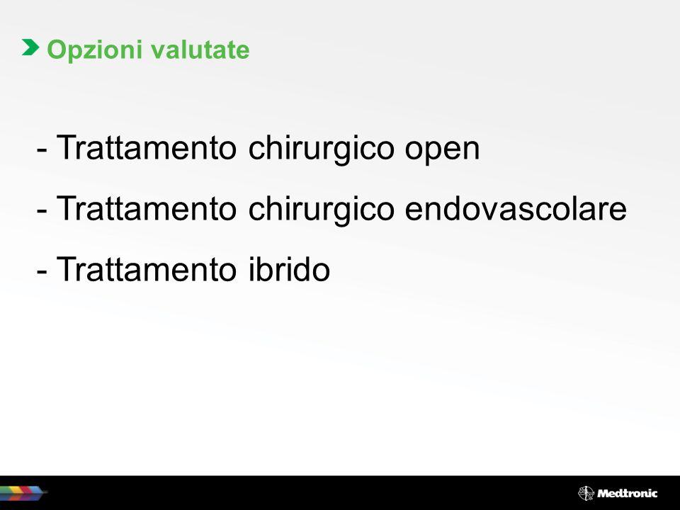 Opzioni valutate - Trattamento chirurgico open - Trattamento chirurgico endovascolare - Trattamento ibrido