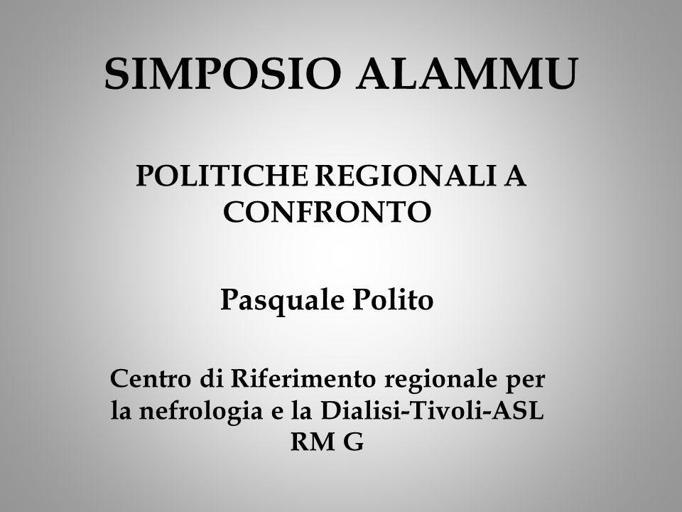 SIMPOSIO ALAMMU POLITICHE REGIONALI A CONFRONTO Pasquale Polito Centro di Riferimento regionale per la nefrologia e la Dialisi-Tivoli-ASL RM G