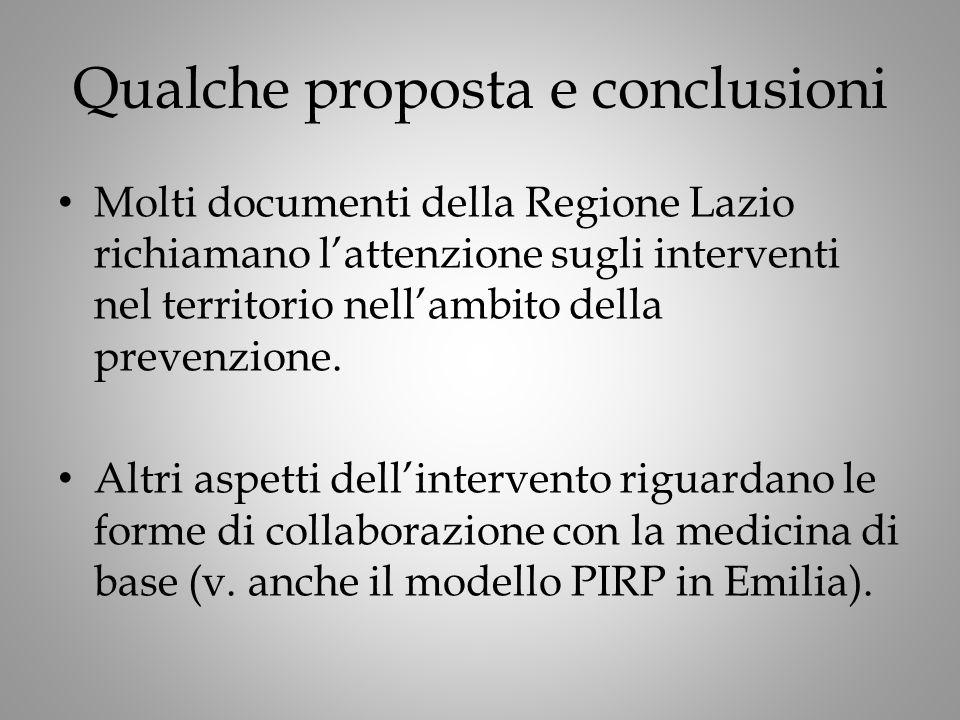 Qualche proposta e conclusioni Molti documenti della Regione Lazio richiamano l'attenzione sugli interventi nel territorio nell'ambito della prevenzione.